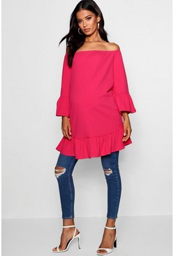 Womens Fushia Maternity Flare Sleeve & Frill Hem Top