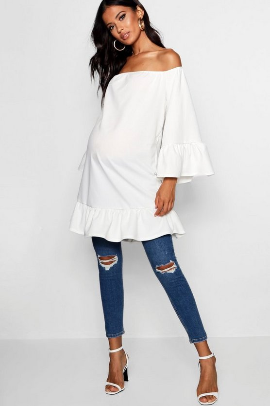 Maternity Flare Sleeve & Frill Hem Top