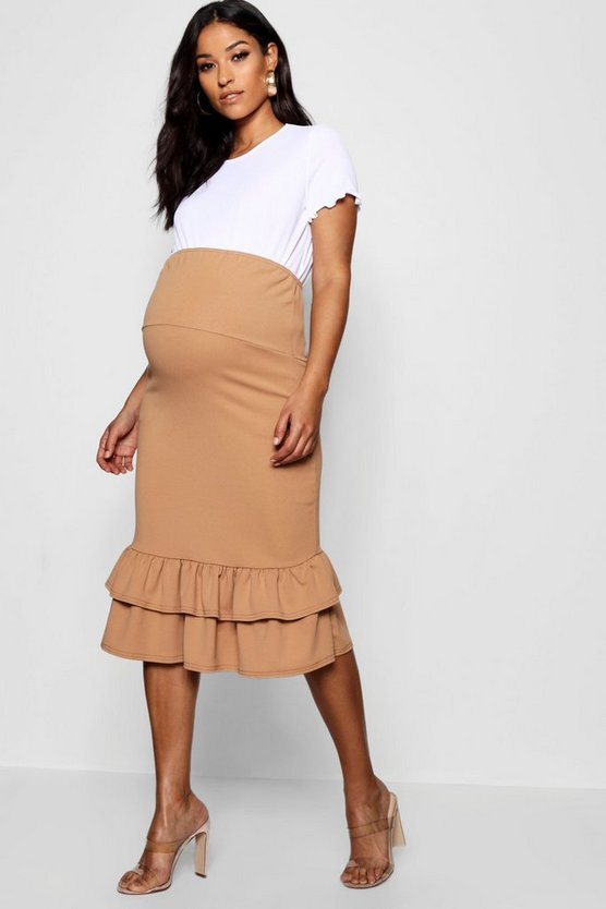 Maternity Over The Bump Skirt With Frill