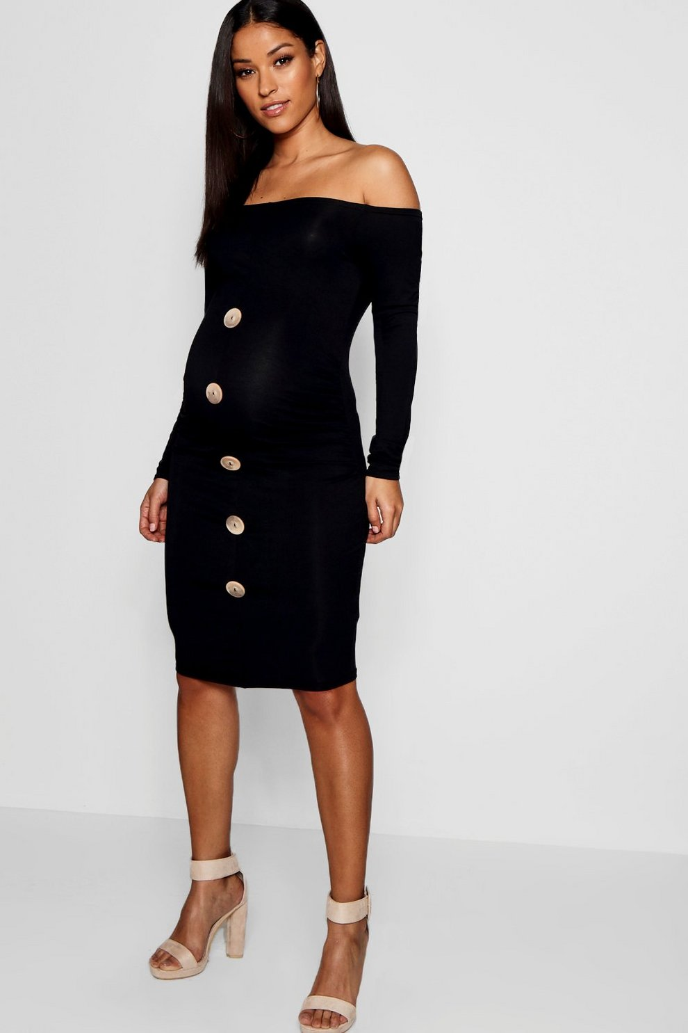 428b017f17 Maternity Off The Shoulder Horn Button Bodycon Dress