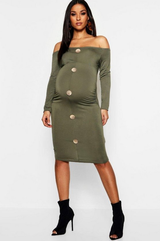 Maternity Off The Shoulder Horn Button Bodycon Dress