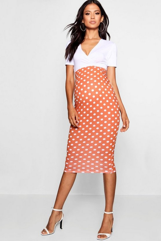 Maternity Over The Bump Spot Midi Skirt