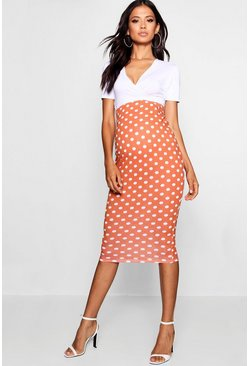 Womens Terracotta Maternity Over The Bump Spot Midi Skirt