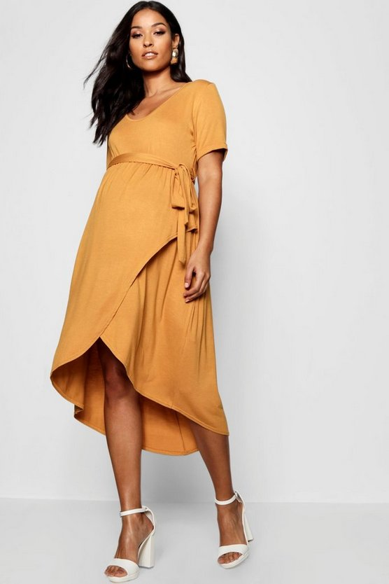 Maternity Wrap Front Belted T Shirt Dress