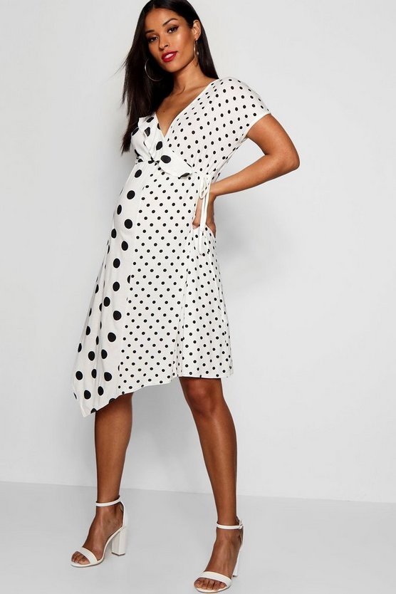 Maternity Polka Dot Frill Splicing Dress