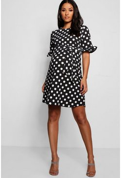 Black Maternity Spot Print Ruffle Smock Dress