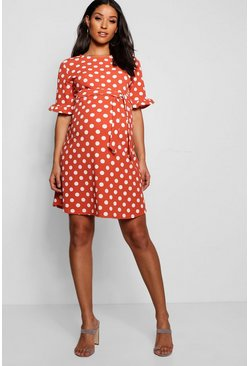 Terracotta Maternity Spot Print Ruffle Smock Dress