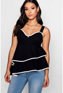Womens Black Maternity Contrast Piping Smock Cami