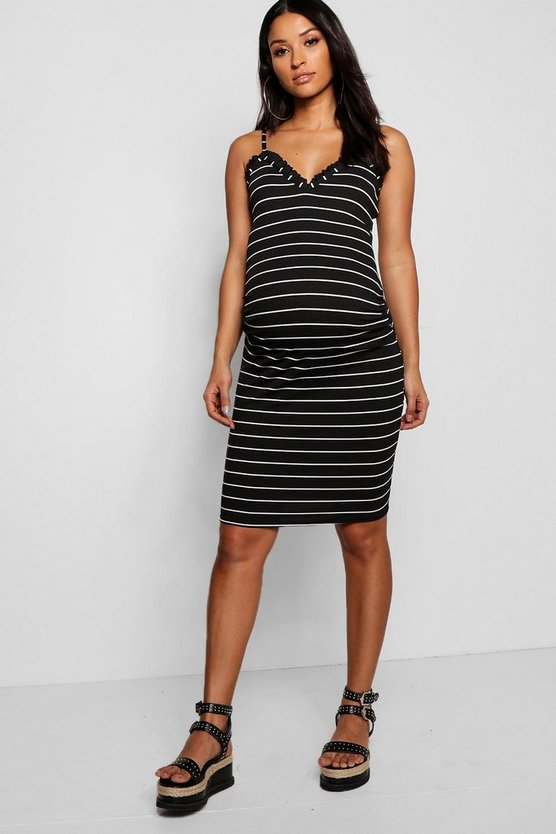 Womens Black Maternity Ruffle Stripe Strappy Midi