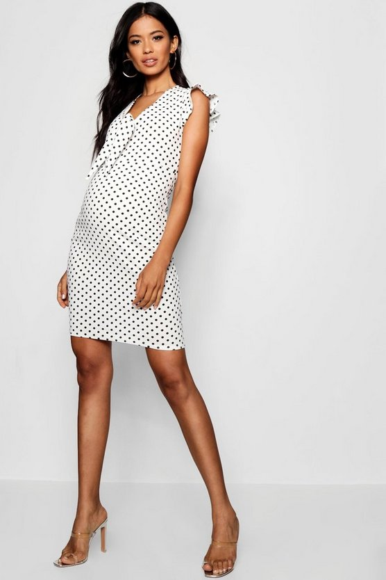 Maternity Hatti Polka Dot Tie Front Bodycon Dress