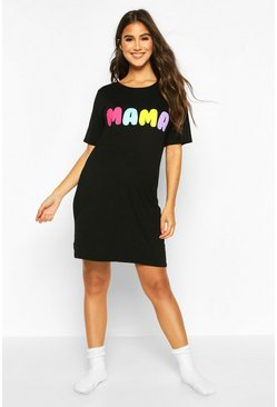 Womens Black Maternity Mama Nightie