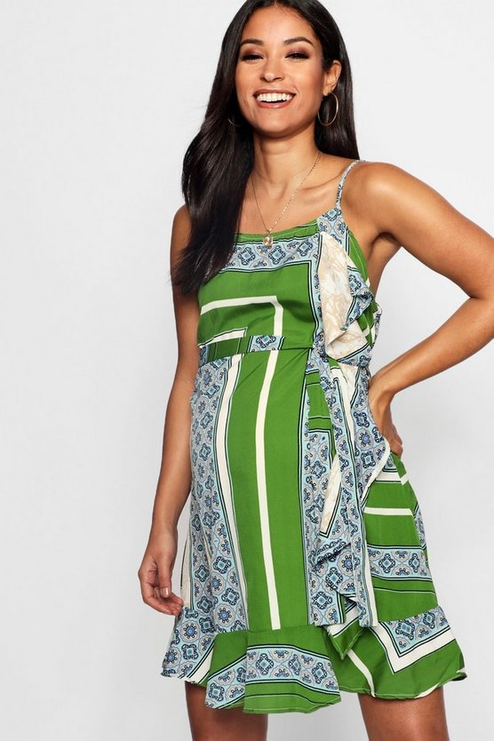 Green Maternity  Printed Ruffle Sun Dress