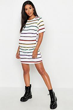 Maternity Rainbow Stripe T-Shirt Dress