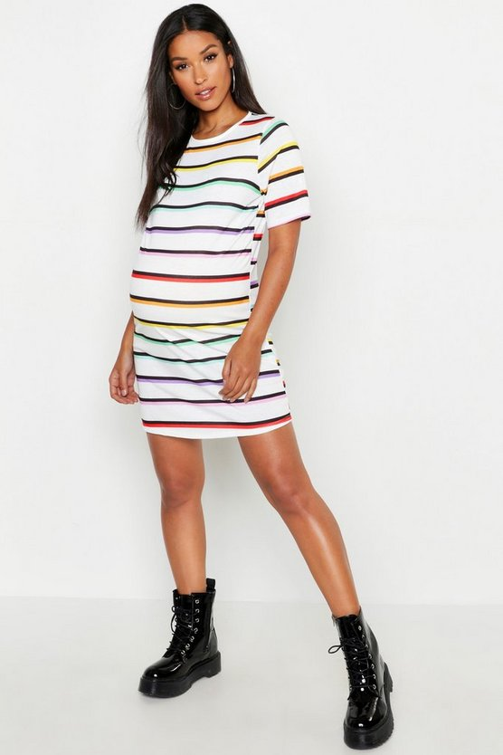 Womens White Maternity Rainbow Stripe T-Shirt Dress