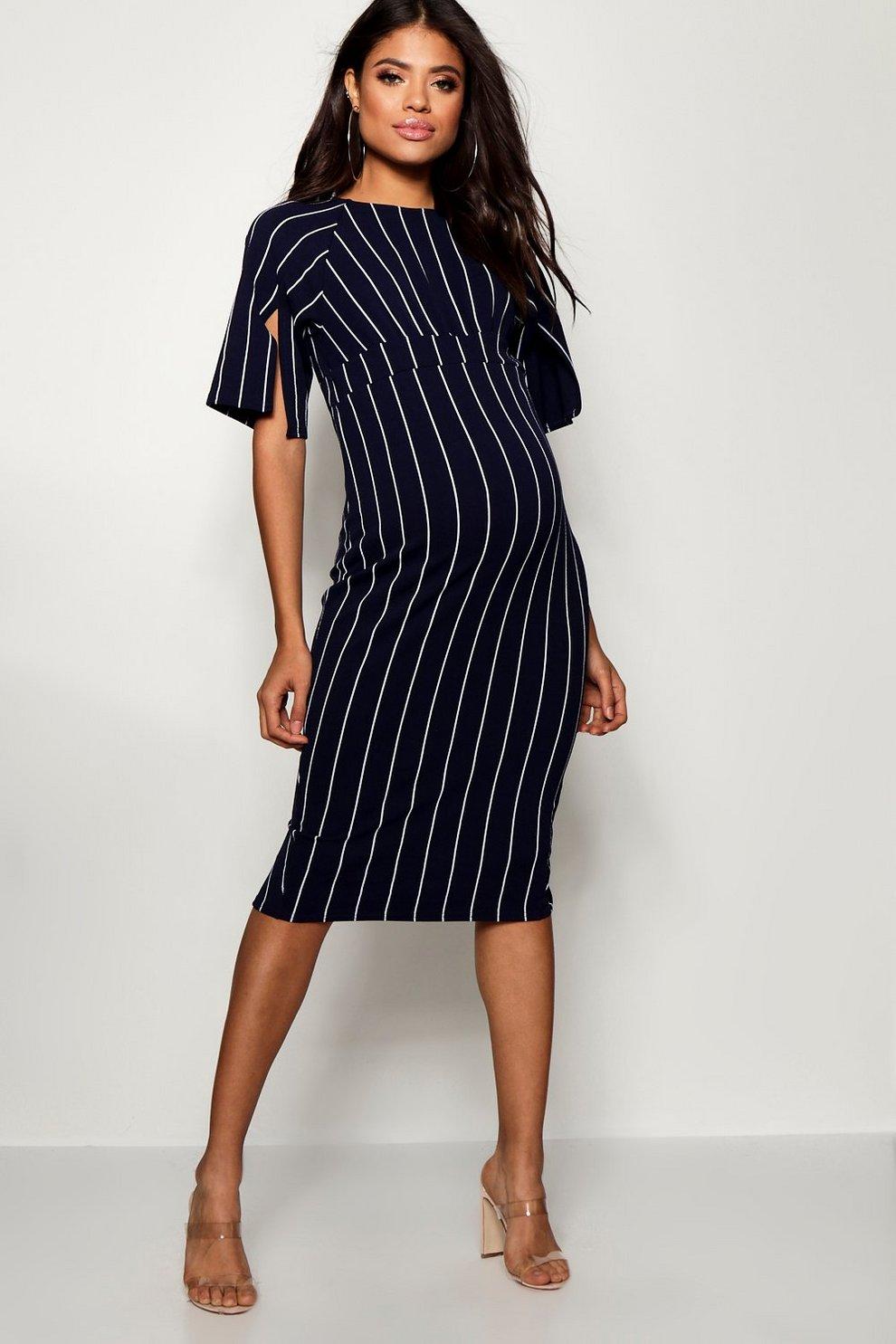 8512f9e43058a Maternity Stripe Split Sleeve Wiggle Midi Dress | Boohoo