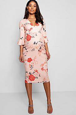 Vintage Style Maternity Clothes Maternity Rose Floral Plunge Neck Midi Dress $48.00 AT vintagedancer.com