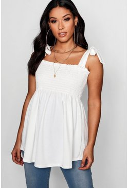 White Maternity Sheered Tie Sleeve Cami Top