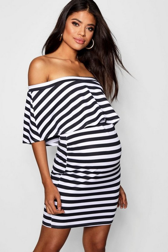 Maternity Off Shoulder Stripe Ruffle Bodycon