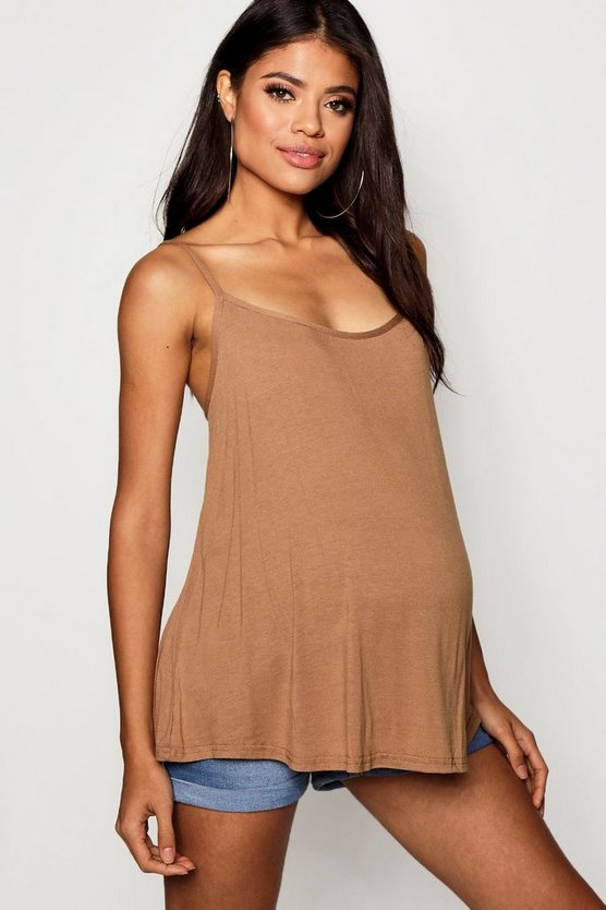 Womens Caramel Maternity Strappy Swing Cami