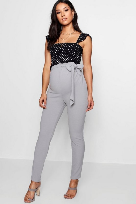 Maternity Tie Waist Tapered Tailored Trouser