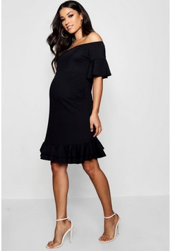 Womens Black Maternity Off Shoulder Frill Smock Dress