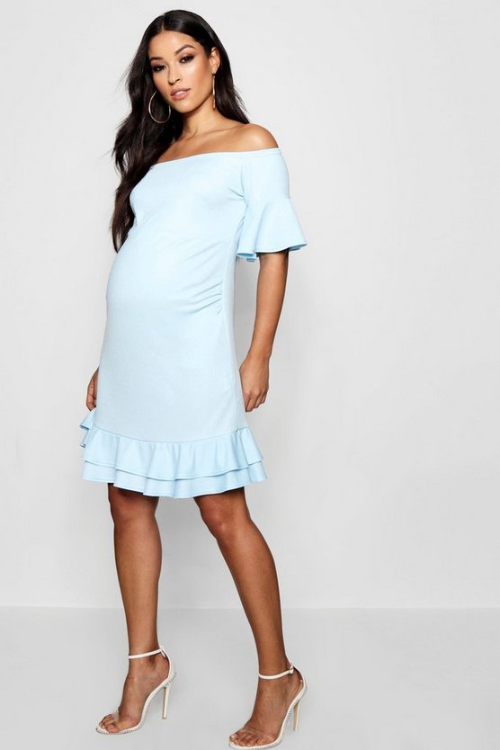 Maternity Off Shoulder Frill Smock Dress