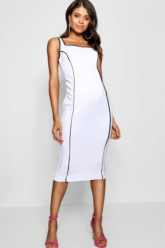 Maternity Square Neck Piping Detail Midi Dress
