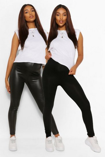 Womens Black Maternity Louisa 2 Pack PU + Jersey Leggings