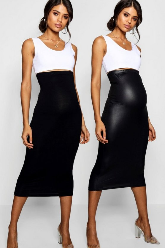 Womens Black Maternity 2 Pack PU Over The Bump Midi Skirt