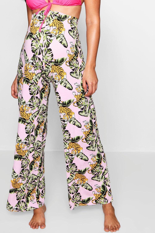 Beach Trouser Maternity pink Print Wide Leg Tropical TnqnIUWxwF