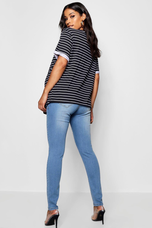 Premamá por lavado skinny de encima la claro barriga rasgados Jeans a4qgUT5