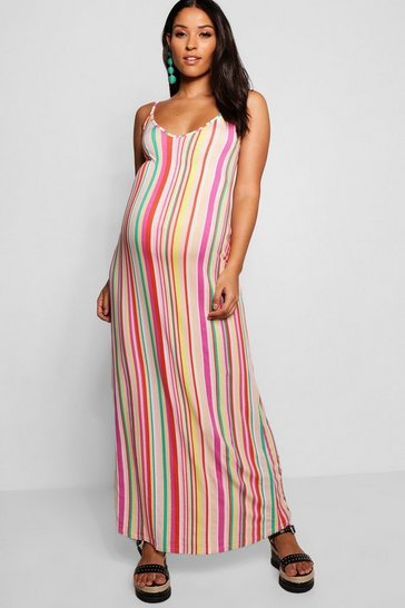 Womens Orange Maternity  Low Back Plunge Stripe Maxi Dress