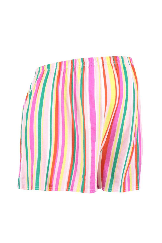 rayas cortos naranja a ondulados Premamá Pantalones YCztqaz