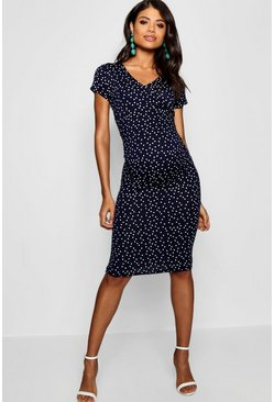 Navy Maternity Polka Dot Wrap Front Midi Dress