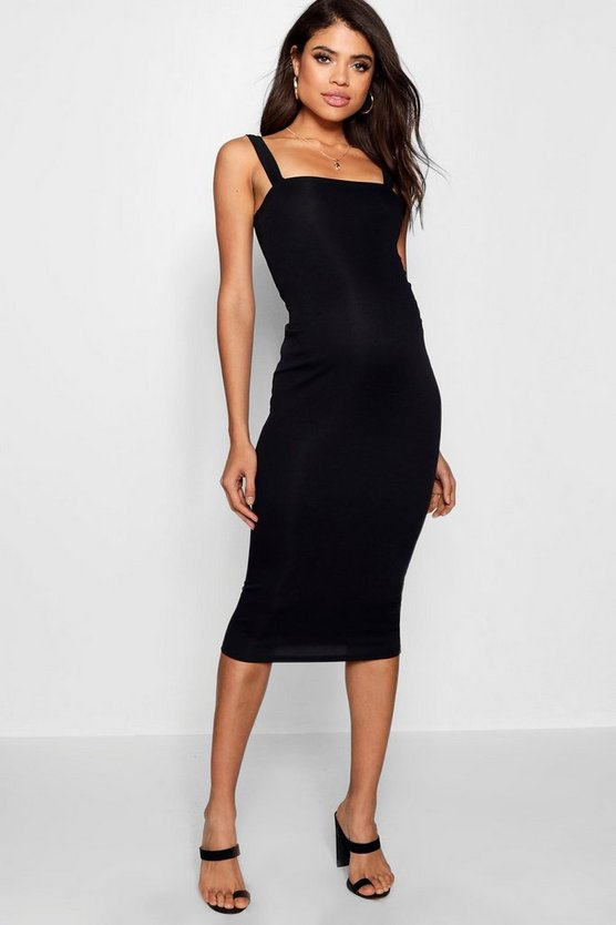 Maternity Square Neck Ribbed Midi Dress