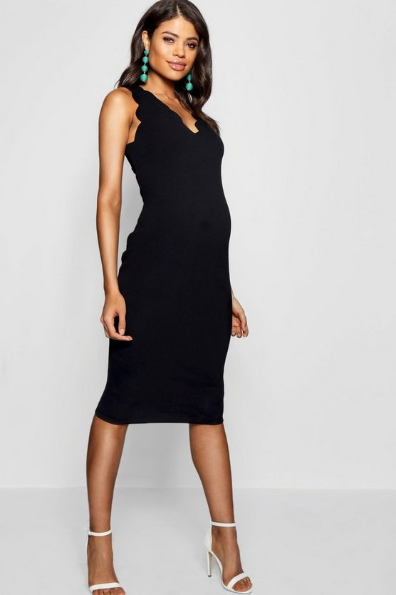 Womens Maternity  Scalloped Edge Midi Dress