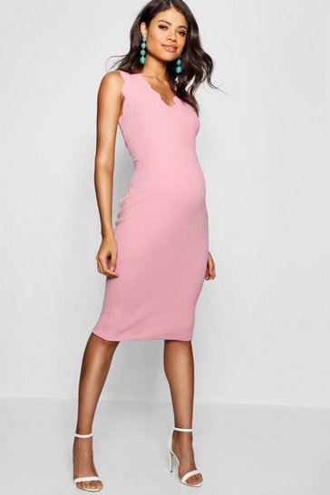 Desert rose Maternity  Scalloped Edge Midi Dress