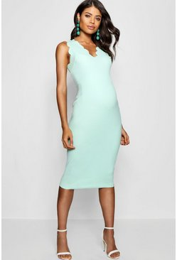 Womens Mint Maternity  Scalloped Edge Midi Dress