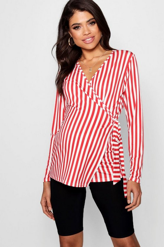 Womens Red Maternity Stripe Long Sleeve Wrap Top