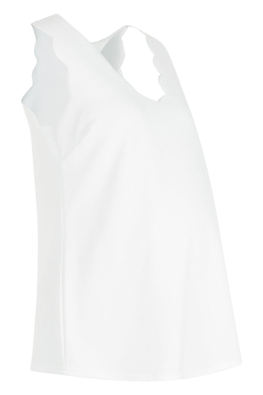 Premamá tirantes escote con con festoneados marfil de Top y camiseta bordes pronunciado wFHxFq1gv