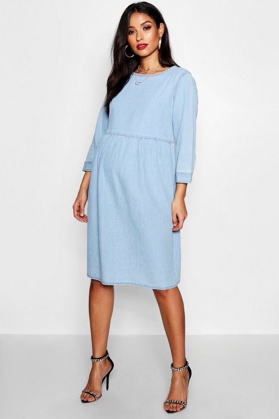 Womens Blue Maternity Tess Denim Smock Dress