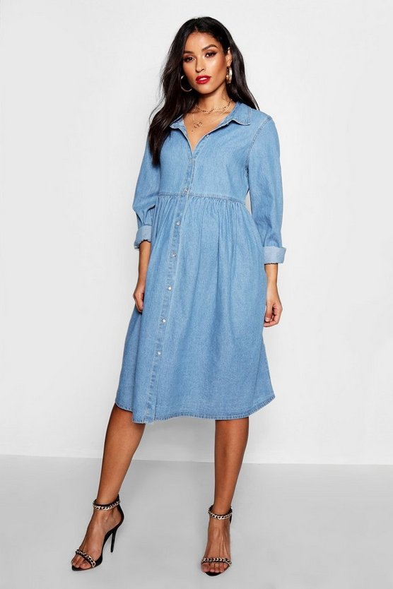Womens Blue Maternity Button Through Smock Dress
