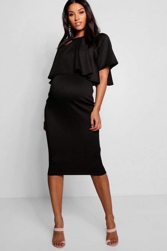 Womens Black Maternity Double Layer Wiggle Dress
