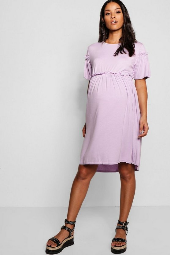 Womens Lilac Maternity Cap Sleeve Smock Dress