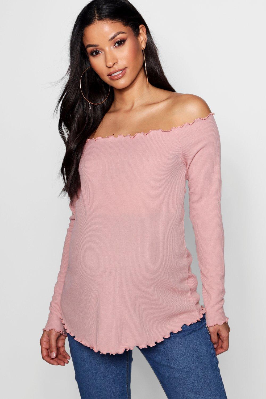 Top con premamá bajo rosa estilo canalé lechuga en bardot pálido PwrPEqU4