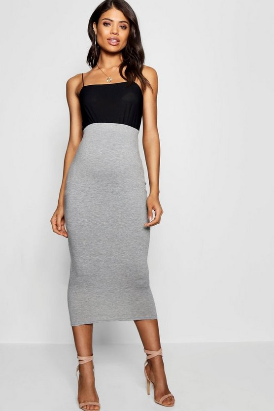 Womens Grey Maternity  Over The Bump Midi Skirt