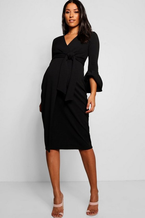 Womens Black Maternity Ruffle Sleeve Wrap Dress