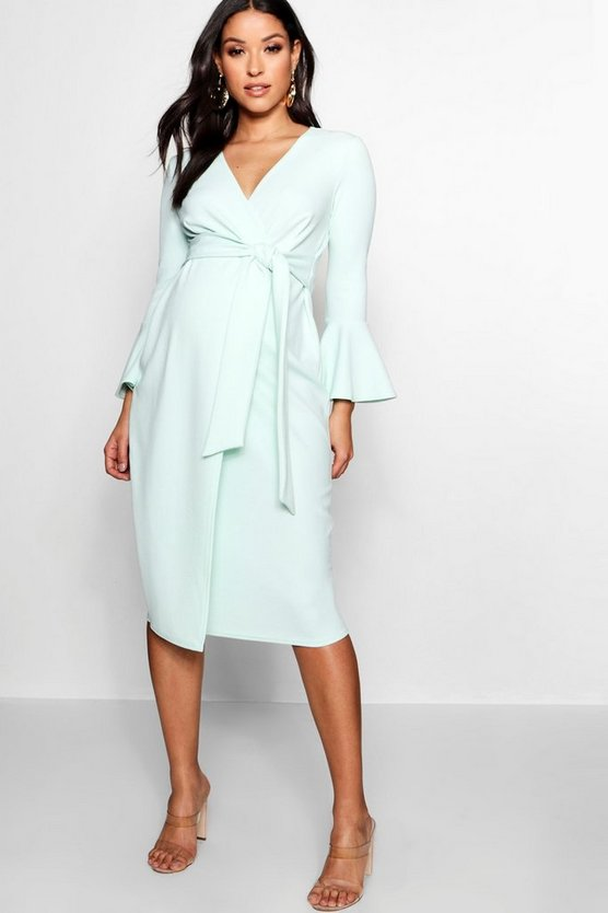 Womens Mint Maternity Ruffle Sleeve Wrap Dress
