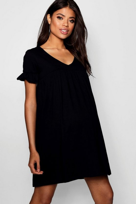 Womens Black Maternity Frill Short Sleeve Smock Dress