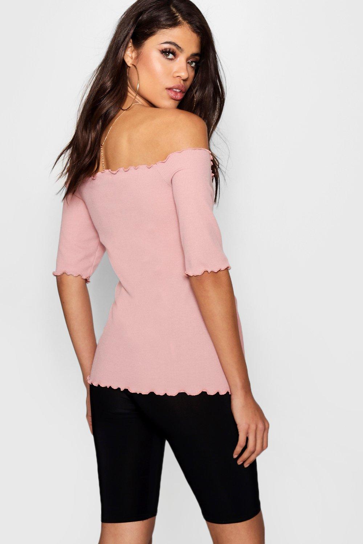 Bardot con estilo canalé rosa bajo Top lechuga pálido en premamá FB5npTqAWq